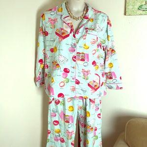 Nick & Nora macaroon print flannel pajamas xxl